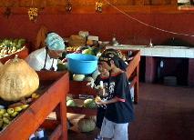 村の市場で買い物