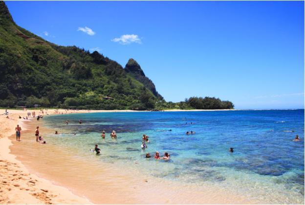 ハエナビーチでシュノーケリングを楽しむ家族連れ