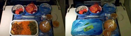 機内食のフィッシュカレー&カレーピラフ。 食器の色がセイシェルらしい