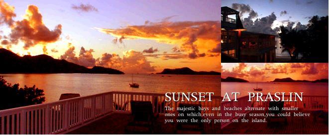 燃えるように赤いプララン島の夕陽