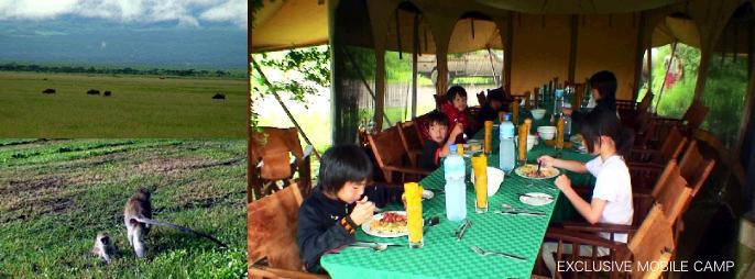 アフリカのホテルの食事の様子
