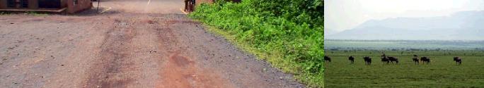 ンゴロンゴロ自然保護区のゲート。ゲートの外側には舗装された道路が続いている。