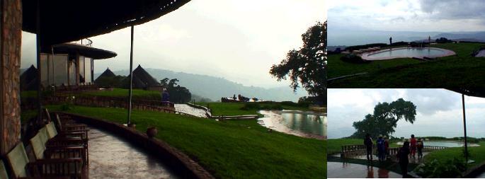 ソパロッジのレストランから眺める雨のンゴロンゴロ