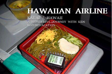 ハワイアン航空の機内食。茶そば。赤い容器に入っている。