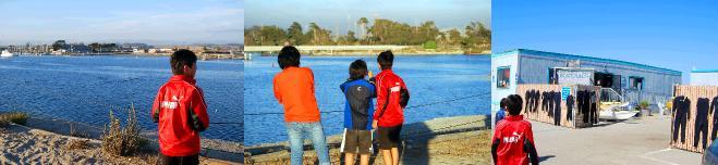 ラッコのいる入江を眺める子どもたち
