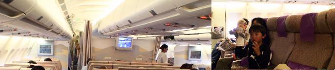 ドバイ行きフライトの機内の様子