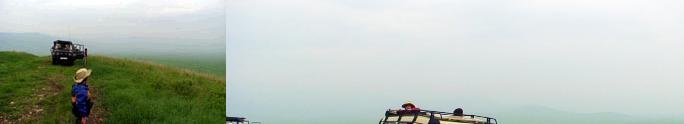 ビューポイントで景色を眺める子どもたち