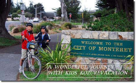 サイクリングでモントレー観光を楽しむ子供達