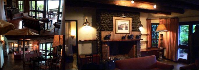 リビングルームと暖炉の写真
