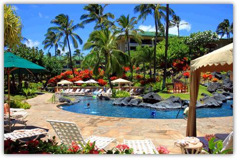 グランドハイアットカウアイリゾート&スパのプール。プールサイドには白いパラソルとデッキチェアが並べられている。プールの向こう岸には青い空にヤシの木が風のそよいでいる。