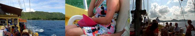 プララン島へ戻るフェリー
