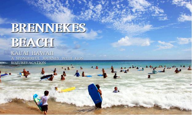 ボーディボードをする子供達で賑わうブルネッキーズビーチ