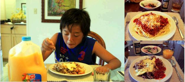 ハワイのコンドミニアムのダイニングテーブルで食事をするりゅう