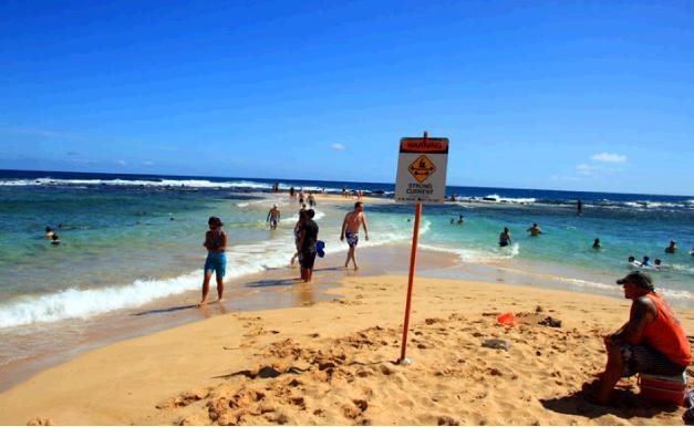 ポイプビーチの砂州