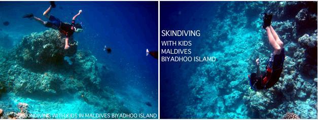 モルジブの海に潜る子供たち