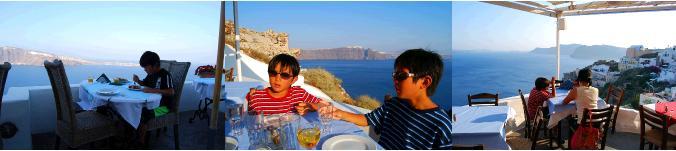 ギリシャのレストランで食事をする子供たちの様子