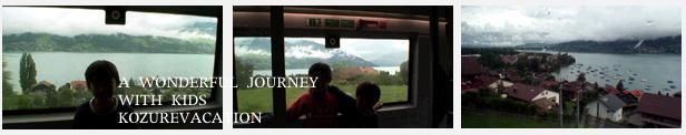 車窓に見えるスイスの湖