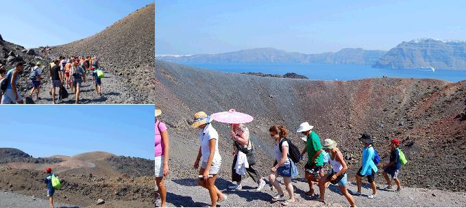 サントリーニ火山島トレッキング