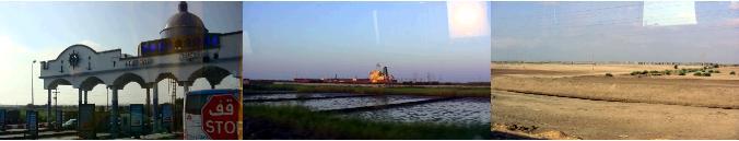 スエズ運河をゆく貨物船