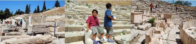 ディオニソス劇場を見学する子供たち