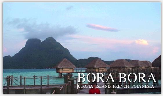 ボラボラ島の夕暮れの景色