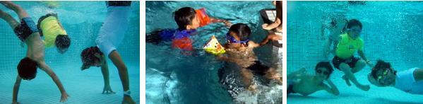 プール遊ぶ子ども達