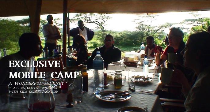 キャンプの朝食の様子