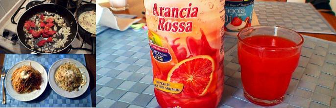 出来上がった料理とシチリアブラッディオレンジジュース