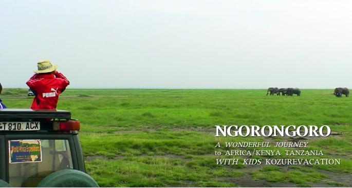 ンゴロンゴロのゲームサファリでアフリカゾウを見る