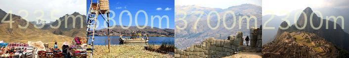 ペルーの代表的な観光地の標高