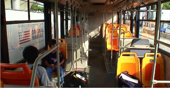 エアポートシャトルバスの車内