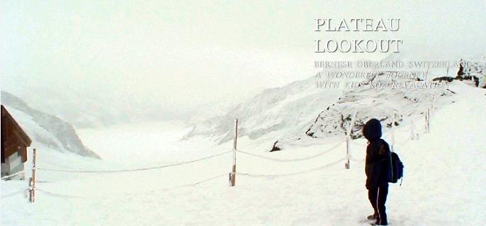 アレッチ氷河を見ながらトレッキングをする子供達