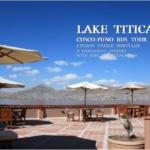 ホテルのテラスから眺めるチチカカ湖