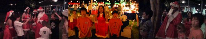 サンタさんからプレゼントをもらう子供たち