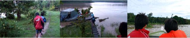 夜明け前のボート降り場へ向かう