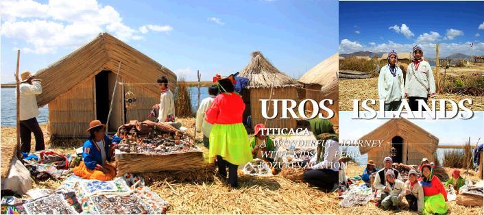 ウロス島で民族衣装をきて記念撮影。男性は白い衣装、ママは蛍光ピンクの上着に蛍光イエローのスカート。帽子もかぶっている。