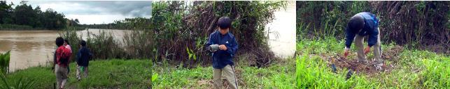植林する子ども達