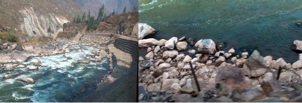 線路の脇を流れる川