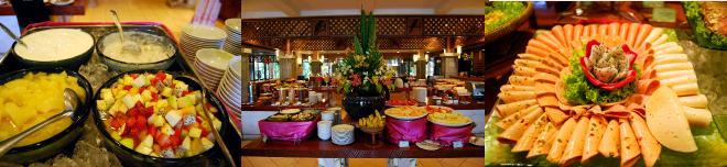 朝食ビュッフェのテーブルに並ぶ料理