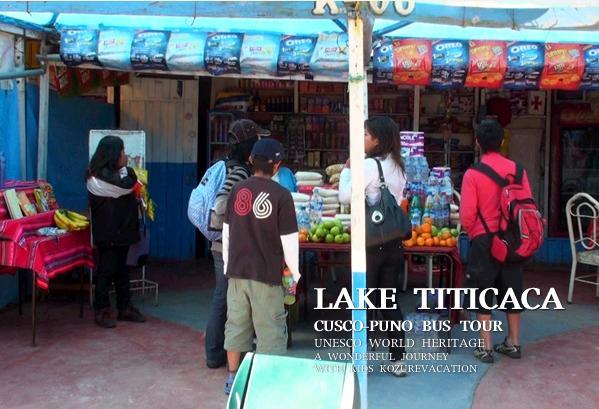 チチカカ湖の港の雑貨店