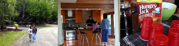 別荘のキッチンでパンケーキを焼くカール