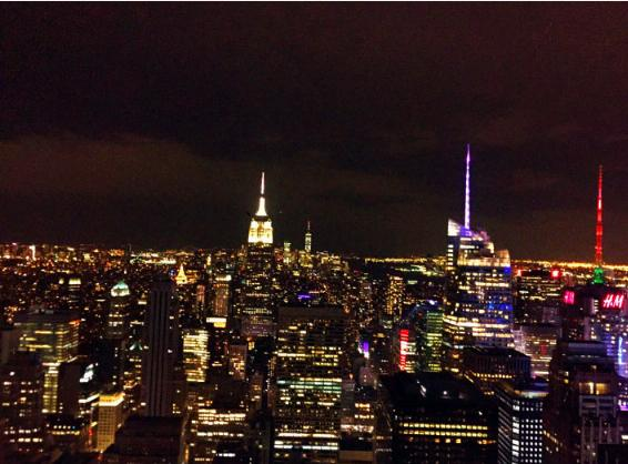 ロックフェラーセンターの展望台から見たマンハッタンの夜景