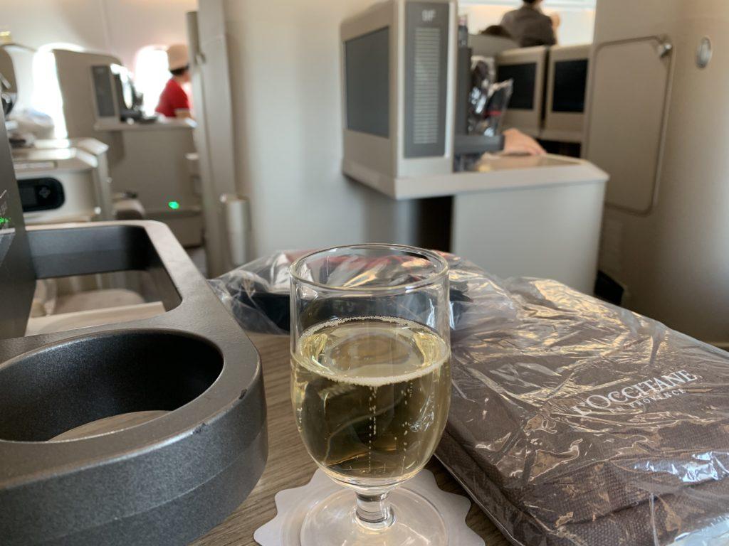 ウェルカムドリンクのシャンパン