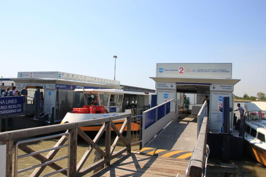 ベネチア空港の水上バス乗り場