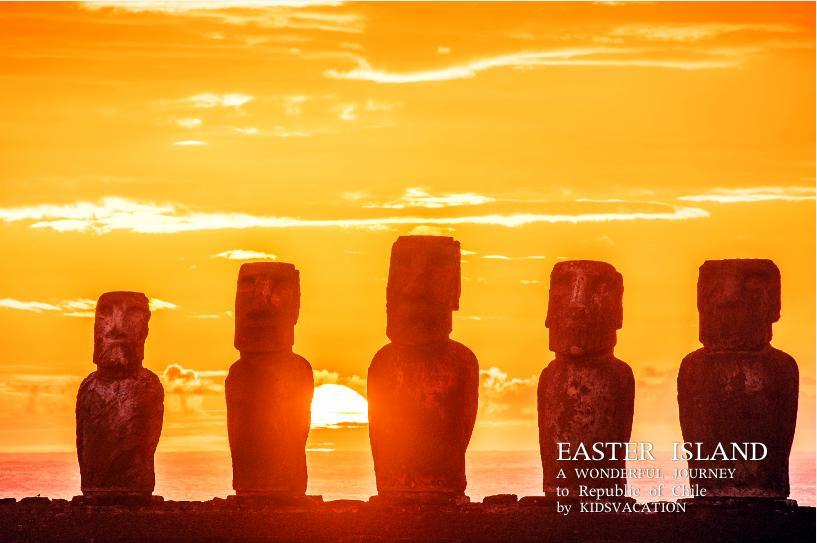 モアイ像の背後に沈むイースター島の夕日