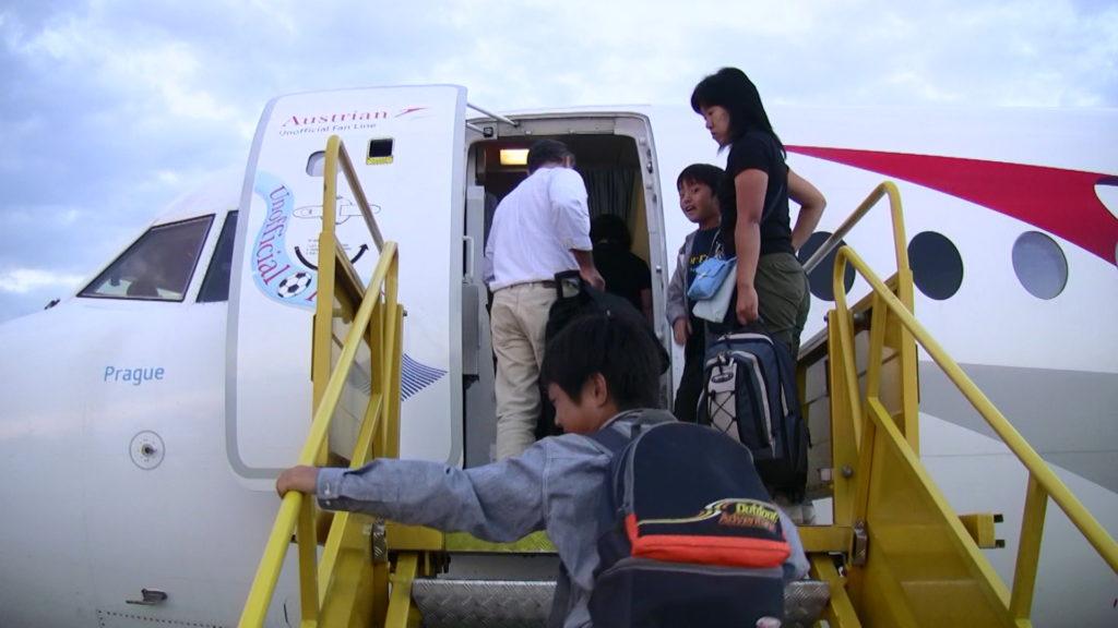 オーストリア航空に乗り込むところ