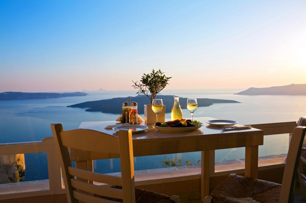 サントリーニ島のホテルからの眺め