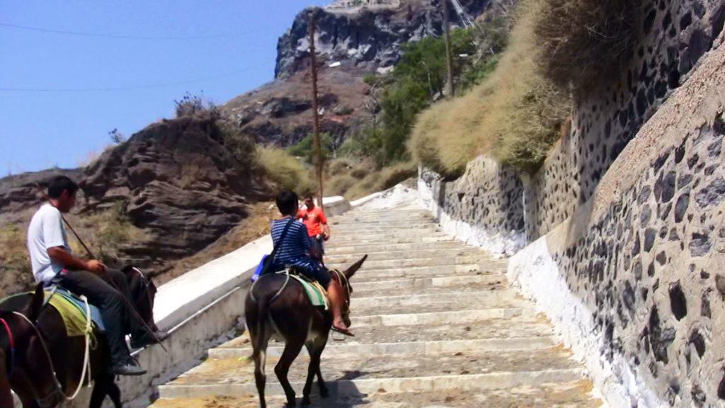ロバの背に揺られてサントリーニ島の絶壁の階段を登る