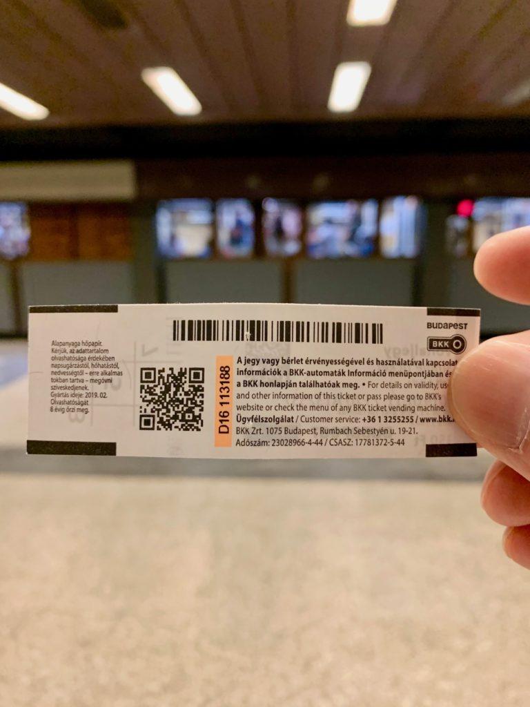 ブダペスト地下鉄のシングルチケット