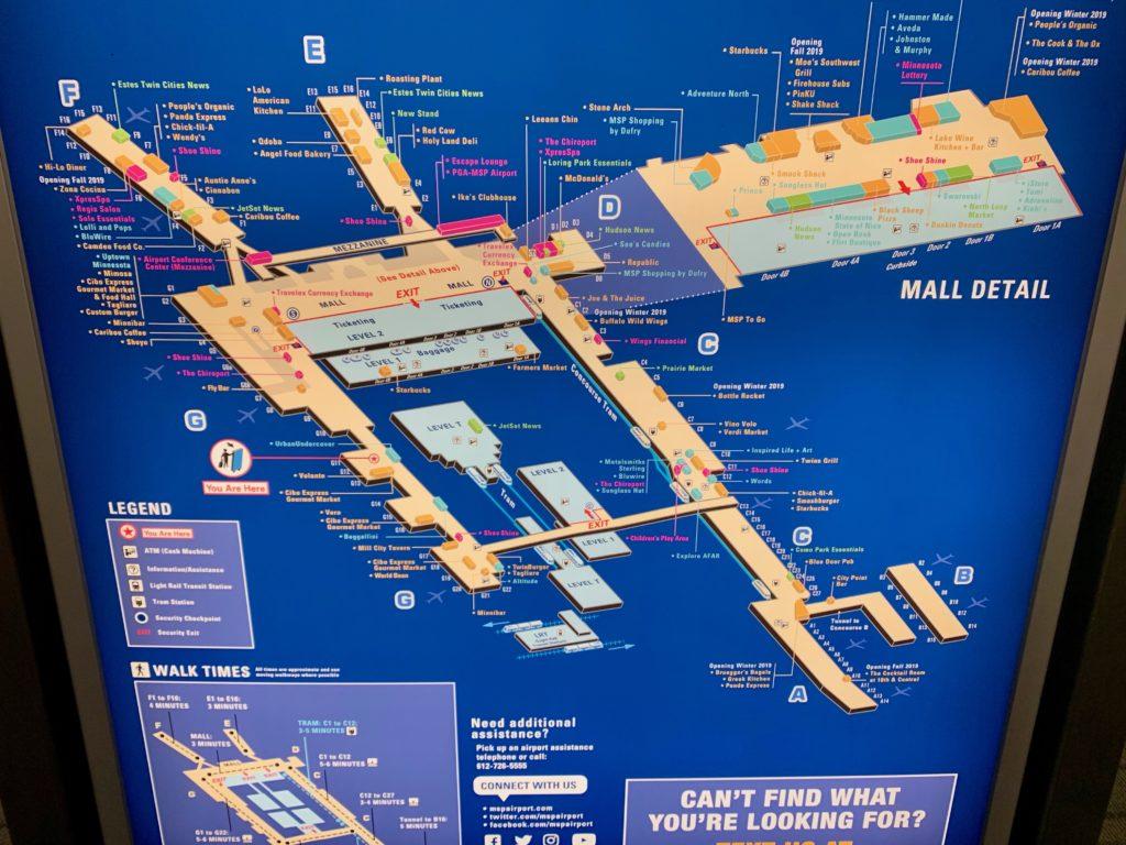 ミネアポリス空港の案内地図